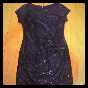 Dress: Vince Camino, sequin, navy blue